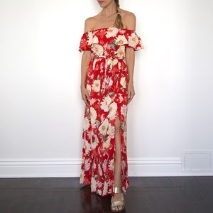 Red floral maxi dress California Moonrise Small