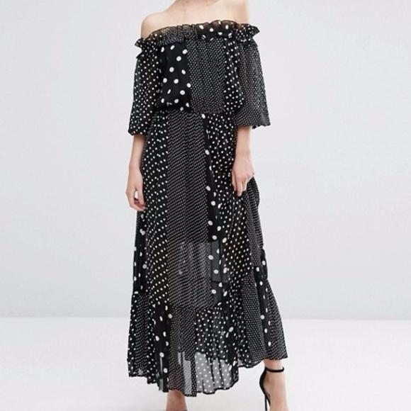 b88e6f60b1a ASOS Dresses   Skirts - ASOS Off Shoulder Maxi Dress In Polka Dot