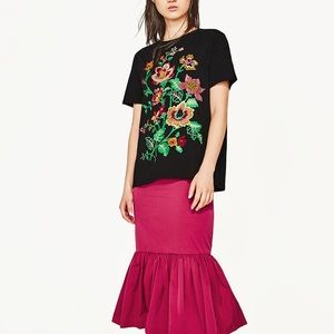 Zara black T-shirt with floral embroidery
