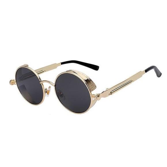 7b1830d65b2 Mens Round Gold Frame Dark Black Hip Hop Glasses