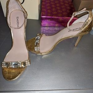 New! Bebe gold sandals with rhinestones