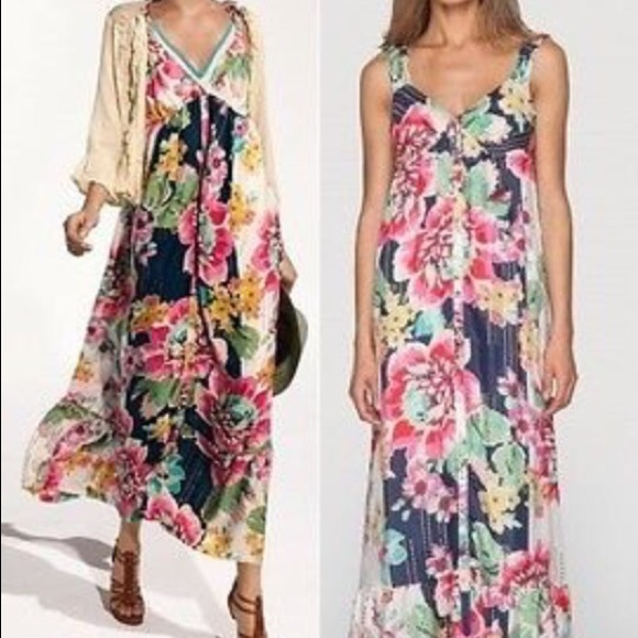 Johnny Was Dresses 100 Silk Floral Button Down Maxi Dress Poshmark