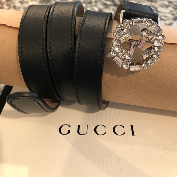 95551bf100b Gucci Accessories - Gucci Double G Crystal-embellished Belt - Black