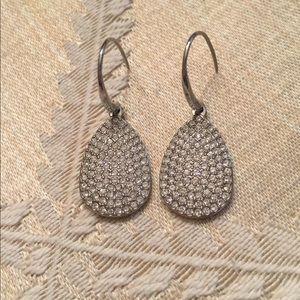 Fossil diamond dangle earrings