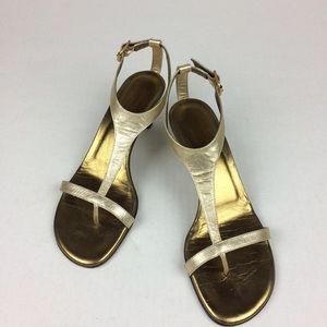 Donald J Pliner light gold low heel sandals