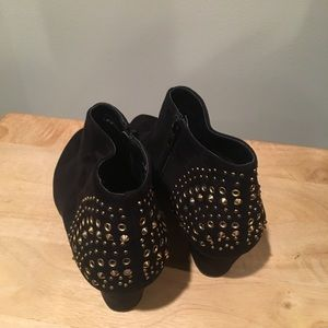 Lane Bryant 9W gold embellished black sueded boots