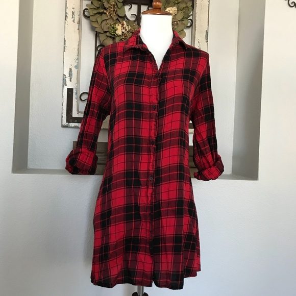 fa26a7fc Zara Woman Red Black Plaid Shirt Dress. M_59f73606522b45b3760a53c7. Other  Tops ...