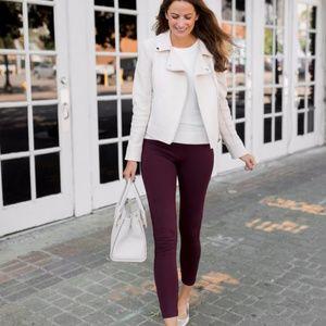 NWT Ann Taylor maroon side zip leggings