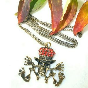 Jewelry - New Dancing Skull Skelton Necklace with Top Hat