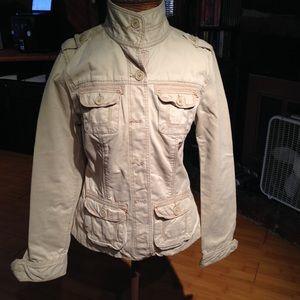 Aeropostale Beige Cotton Cargo Jacket Size Small