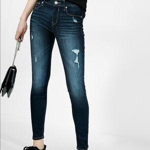 Mid Rise Distressed Stretch Jean Leggings