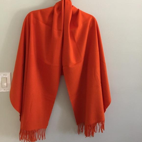 b5e57e0dcdbb2 Hermes Accessories | Orange Authentic Cashmere Fringed Shawl | Poshmark