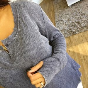 Tops - LAST ONE_ Blue jean thermal w/ thumbholes