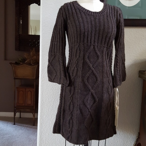 5df0120fa3b6 Kenar Dresses | Nwt Fit Flare Bell Sleeve Sweater Mini | Poshmark