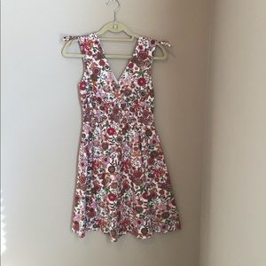 All cotton pink and red flower dress