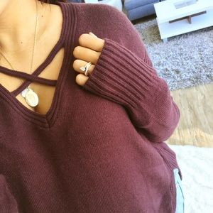 Sweaters - LAST ONE_ Eggplant high slit tunic sweater