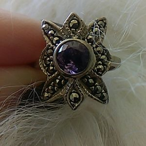 Jewelry - Amethyst and Marcasite ring.