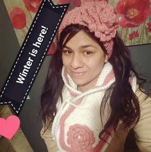 Crochet neck scarf and Pink Rose flower Headband!