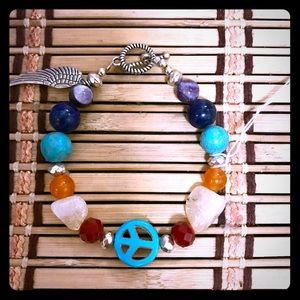 Jewelry - Peace & Angel wing gemstone Bracelet!