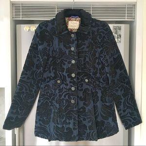 FREE PEOPLE Blue and Black Velvet Dress Coat -Sz 4