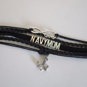 Jewelry - Navy Mom Black Woven Leather Bracelet