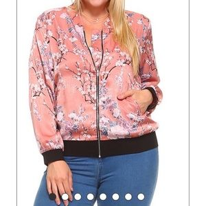 Pink Sakura Floral Print ZIP Up Jacket