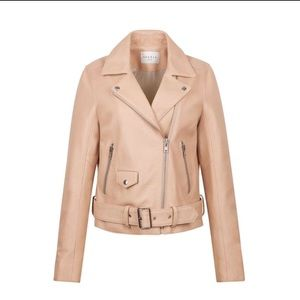 Sandro Nude Leather Jacket like new