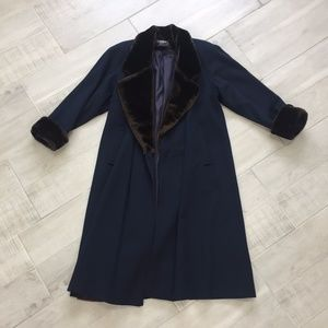Jackets & Blazers - Navy Blue Long Jacket With Fur Collar