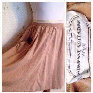 Vintage Nautical Tan Full-Ish Skirt, Elastic Waist