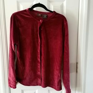 Womans long sleeve red velour button down