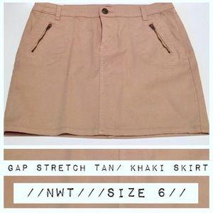 NWT Gap Stretch Tan/Khaki Mini Skirt, 6