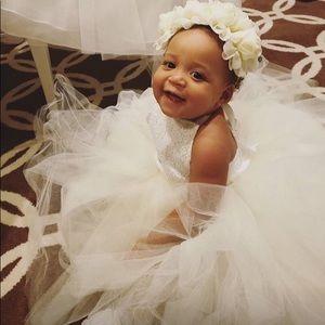 Ivory Flower Baby Girl Dress (custom made)