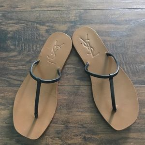 YSL black leather thong sandals size 37