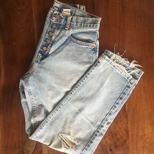 Calvin Klein Button Fly High Waisted Jeans
