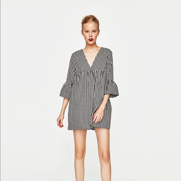 f896d8cf59 Zara Dresses | Black White Gingham Dress Romper | Poshmark