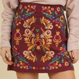 Multi Colored Embroidered Maroon Skirt