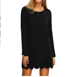 NWOT long sleeve black sexy scallop dress!