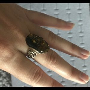 Jewelry - Amber stone sterling silver ring