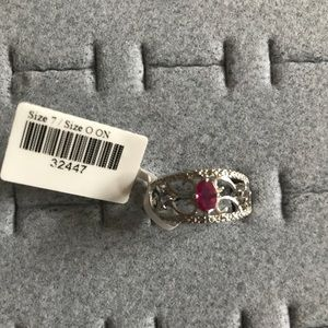Jewelry - Silver ring with pink stone NWT