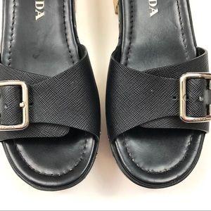 a62f32ec4236 Prada Shoes | Black Saffiano Buckle Slide Clog | Poshmark
