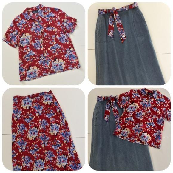 Crazy Horse Dresses & Skirts - Reversible Denim & Floral Maxi & Top Vintage
