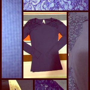 ROYAL BLUE THERMAL CAP LACE  LONG SLEEVES LARGE