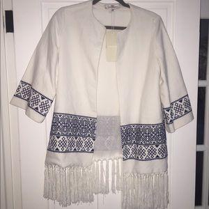 Zara white linen Boho inspired coat