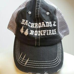 Accessories - Backroads & Bonfires distressed trucker hat