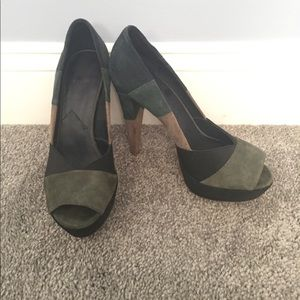 7 for all mankind blue/grey suede heels