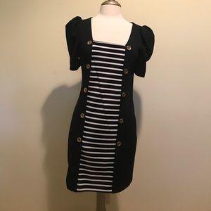 Miss Selfridge black dress with striped panel