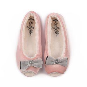 Delta Open Toe Ballerina Slipper in Pink