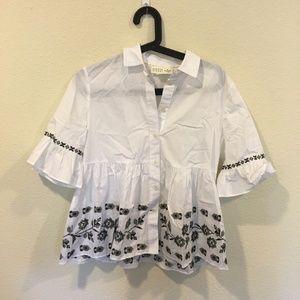 kate spade Tops - Kate Spade embroidered ruffle sleeve shirt