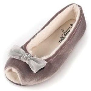 Delta Open Toe Ballerina Slipper in Plum