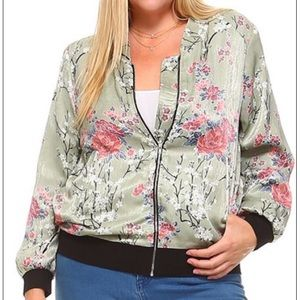 Sage Floral Plus Size Jacket